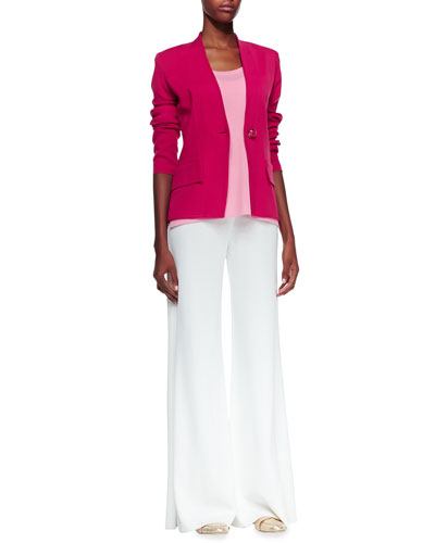 Misook Tyler One-Button Jacket & Fit & Knit Palazzo Pants, Petite