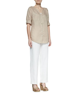 Go Silk Linen Button-Front Tunic & Straight-Leg Linen Pants, Petite