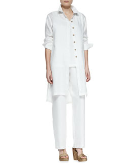 Go Silk Long-Sleeve Linen Duster, Linen Scoop-Neck Tank & Straight-Leg Linen Pants