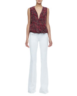 Rachel Zoe Kiara Printed High-Low Blouse & Rachel Low-Rise Flared Jeans