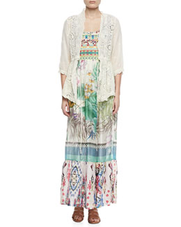 Johnny Was Collection Vivienne Lacey Cover Up Jacket & Blue Springs Printed Silk Dress, Women's