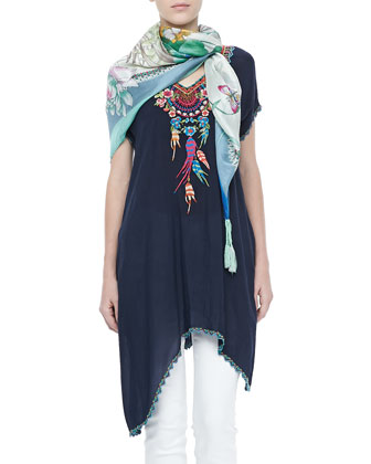 Sweet Dreams Embroidered Georgette Tunic & Blue Springs Printed Scarf