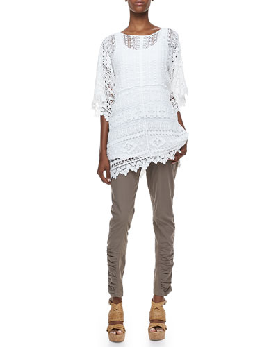 XCVI Moraco Crochet Easy Tunic, Long Slim-Fit Cotton Tank & Aksana Mixed Cargo Leggings