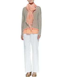 Eileen Fisher Linen Colorblock Box Top, Organic Linen Tank, Tinted Sparkle Scarf & Straight-Leg Trousers, Petite