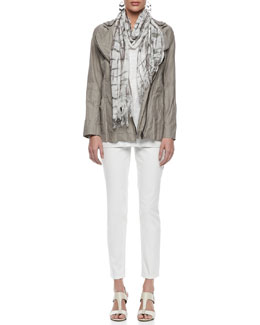 Eileen Fisher Rumpled Hooded Zip-Front Jacket, Jersey Shimmer Tank & Organic Skinny Ankle Jeans & Crackled Scarf, Petite