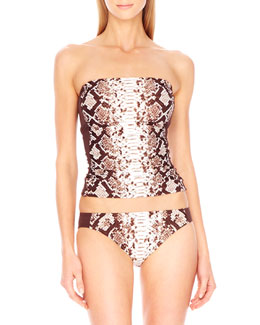 MICHAEL Michael Kors  Snake-Print Bandeau Top & Swim Bottom