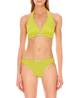 MICHAEL Michael Kors  D-Ring Halter Swim Top & Classic Swim Bottom