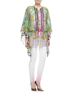 Just Cavalli Animal/Floral/Plaid Silk Caftan & Python-Ombre Skinny Jeans