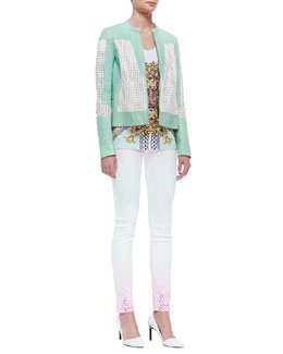 Just Cavalli Perforated Lambskin Leather Jacket, Scrollwork Printed Tee & Python-Ombre Skinny Jeans