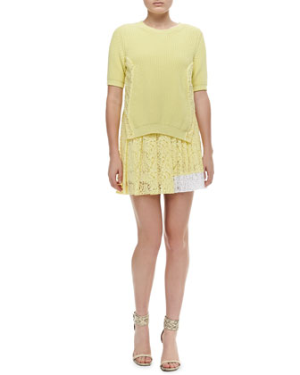 Short-Sleeve Knit Sweater & Colorblock Pleated Lace Skirt