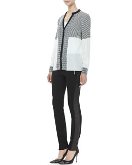 Diane von Furstenberg Shelby Long-Sleeve Print-Panel Silk Blouse & Leah Leather-Panel Leggings