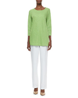 Caroline Rose Bias Striped Knit Tunic & Cabo Straight-Leg Pants, Petite