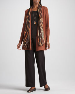 Eileen Fisher Long Wool Cardigan, Long-Sleeve Tee, Blurred Wrap & Straight-Leg Ponte Pants