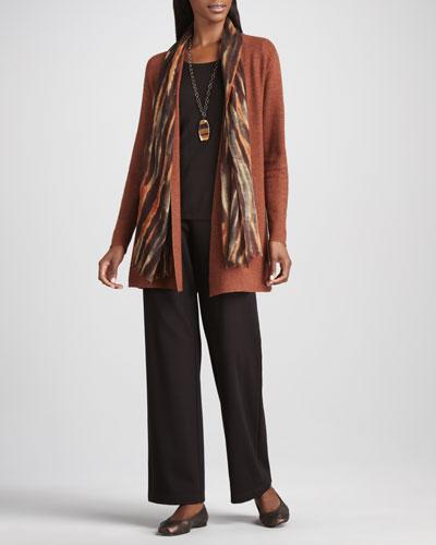 Eileen Fisher Long Wool Cardigan, Long-Sleeve Tee, Blurred Wrap & Straight-Leg Ponte Pants, Women's