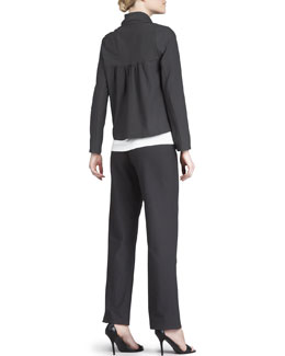 Eileen Fisher Short Crepe Jacket, Slim Jersey Tank & Washable-Crepe Straight-Leg Pants