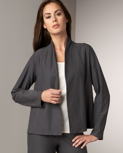Eileen Fisher Short Crepe Jacket, Slim Jersey Tank & Washable-Crepe Straight-Leg Pants, Women's