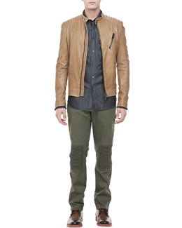 Belstaff Kirkham Leather Biker Jacket, Cotton-Silk Denim Shirt & Hartford Biker Pants