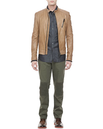 Kirkham Leather Biker Jacket, Cotton-Silk Denim Shirt & Hartford Biker Pants