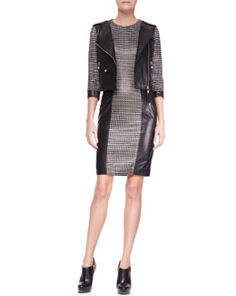 Versace 3/4-Sleeve Moto Jacket & Woven Leather Dress