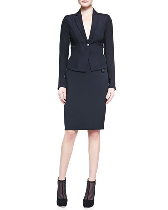Fitted One-Button Blazer & Versace-Buttoned Pencil Skirt