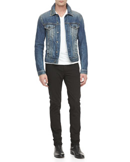 Dolce & Gabbana 4-Pocket Jean Jacket, Basic V-Neck Tee & Garment Dyed Stretch-Twill Pants