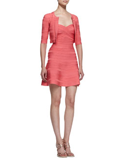 Herve Leger Hibiscus-Print Half-Sleeve Jacket & Bandage A-Line Dress