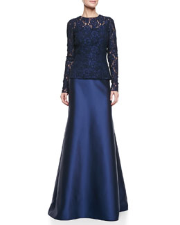 Carmen Marc Valvo Long-Sleeve Lace Top & Mermaid Back-Seam Skirt