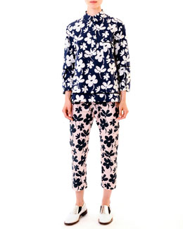 Marni Floral High-Low Hem Cotton Tunic & Elastic-Waist Ankle Pants