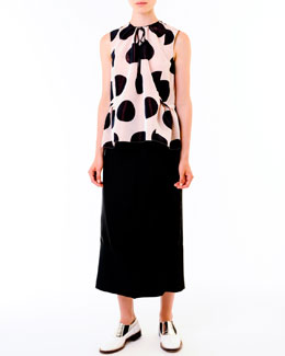 Marni Dotted Peplum Top & Mid-Calf Twill Skirt