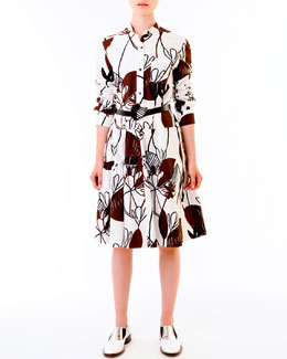 Marni Woodcut Lily-Print Poplin Dress & Flower-Buckle Belt