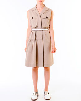Marni Compact Cotton Safari Shirtdress & Push-Lock Belt