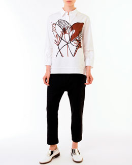 Marni Woodcut Floral-Graphic Cotton Blouse & Elastic-Waist Ankle Pants