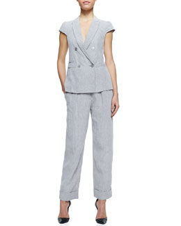 Armani Collezioni Cap-Sleeve Linen Suiting Jacket and Cuffed Cropped Linen Pants