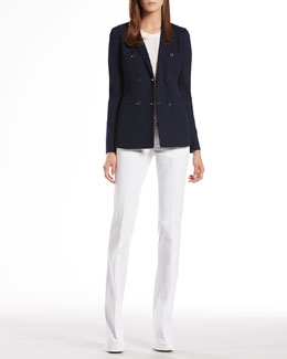 Gucci Jacquard Jersey Double-Breasted Jacket, Silk Open Crossover Back Top & Denim 70's Pants