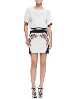 Rebecca Minkoff Cropped Mesh/Jersey Sweater & Malbec Embroidered Leather Skirt