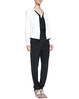 Rebecca Minkoff Miles Silk Zip-Front Jacket & Mara Silk V-Neck Jumpsuit