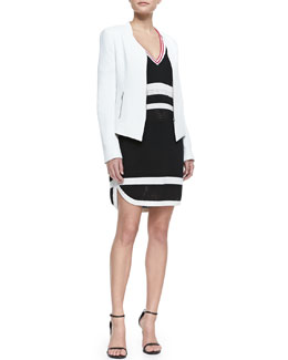 Rebecca Minkoff Miles Silk Zip-Front Jacket & Striped Sporty Mesh Dress