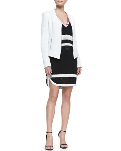 Rebecca Minkoff Miles Silk Zip-Front Jacket & Striped Sporty Mesh Dress