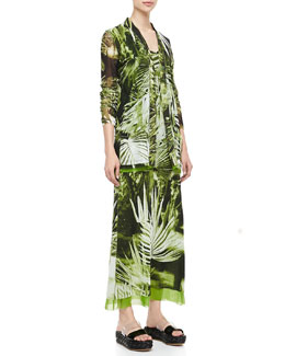 Jean Paul Gaultier Long Fern-Print Cardigan & Tank Dress