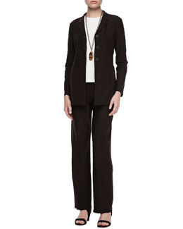 Eileen Fisher Washable-Crepe Jacket, Long-Sleeve Jersey Tee & Pants