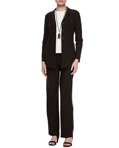 Eileen Fisher Washable-Crepe Jacket, Long-Sleeve Jersey Tee & Pants