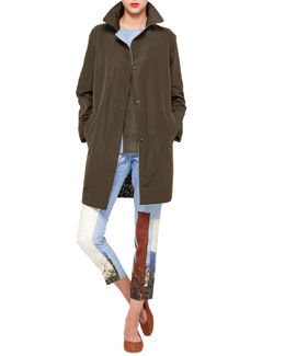 Akris Satellite Tower Reversible Coat, Crepe Tunic & Cropped Pants