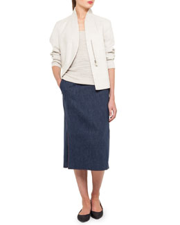 Akris Structured Linen-Blend Jacket, Scoop-Neck Top & Long Denim Pencil Skirt