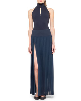 Akris Sleeveless Mock-Neck Bodysuit and Long Side-Slit Plisse Skirt