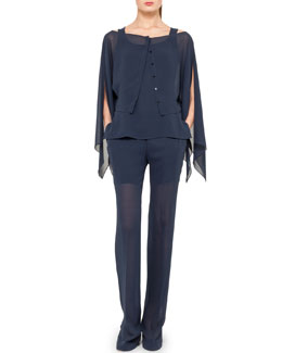 Akris Georgette Flutter Twin-Set and Straight-Leg Pants