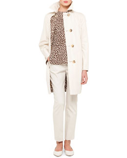 Akris Baby Giraffe Reversible Trenchcoat, Cap-Sleeve Blouse & Denim Ankle Pants