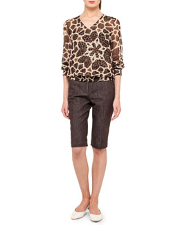 Akris Giraffe-Print Blouson Twin-Set and Denim Bermuda Shorts