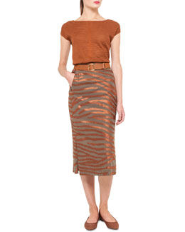 Akris Zebra Knit Pullover, Embroidered Midi Skirt & Ai-Buckle Stretch Belt