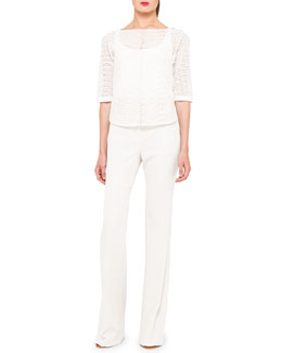 Akris St. Gallen Eyelet Short Blouse and Boot-Cut Cotton-Silk Pants