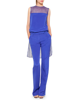 Akris Net-Panel High-Low Tunic and Straight-Leg Crepe Pants